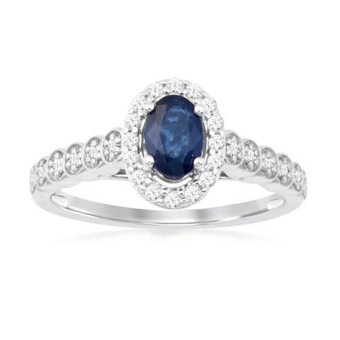 Oval Cut Sapphire Gemstone 1/5ct TDW Diamond Halo Ring in Silver
