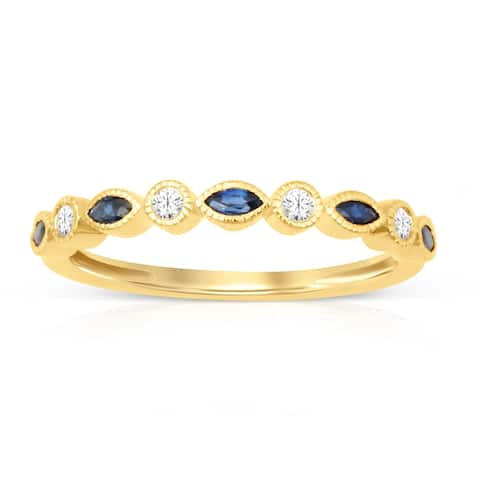Marquise Cut Sapphire Gemstone 1/10ct TDW Diamond Band in Yellow Gold Plated Silver