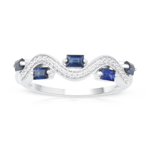 Baguette Cut Sapphire Gemstone 1/20ct TDW Diamond Band in Silver
