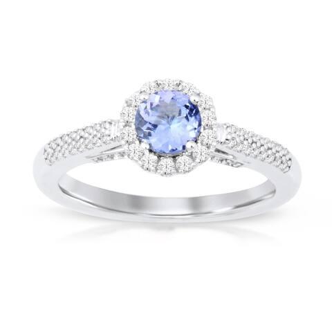 Round Cut Tanzanite Gemstone 1/4ct TDW Diamond Halo Ring in Silver