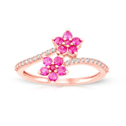 Ruby Gemstone 1/8ct TDW Diamond Promise Ring in Rose Gold Plated Silver