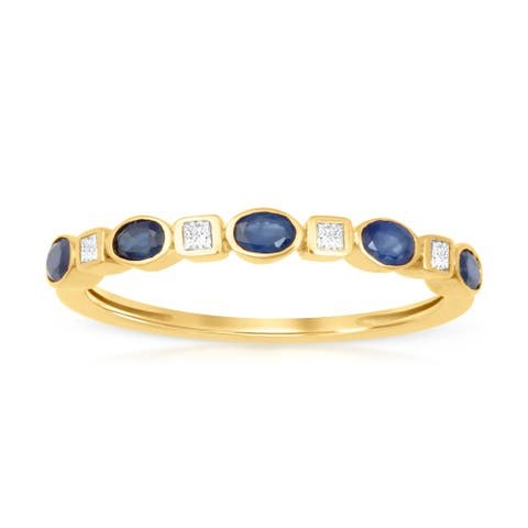 Oval Cut Sapphire Gemstone 1/10ct TDW Diamond Band in Yellow Gold Plated Silver