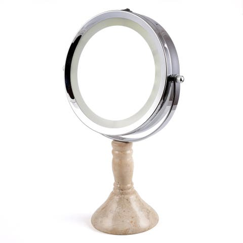 """Creative Home Deluxe 7"""" Double Sided Swivel Vanity Led Mirror with 1X, 7X Magnification & Champagne Marble Stone Pillar Stand,"""