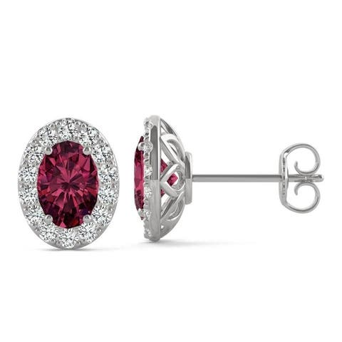 14k White Gold Moissanite by Charles & Colvard Oval Halo Stud Earrings with Lab Created Ruby