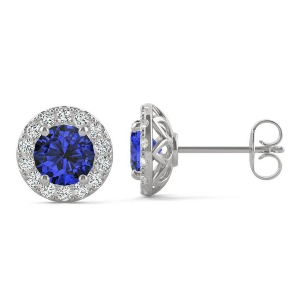 14k White Gold Moissanite by Charles & Colvard Halo Stud Earrings with Blue Lab Created Sapphire. Opens flyout.