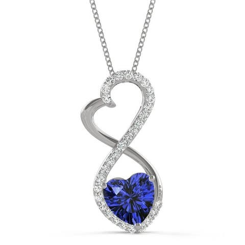 14k White Gold Moissanite by Charles & Colvard Infinity Heart Pendant with Blue Lab Created Sapphire
