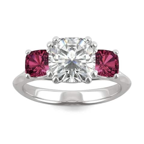14k White Gold Moissanite by Charles & Colvard Cushion Three Stone Ring with Lab Created Ruby