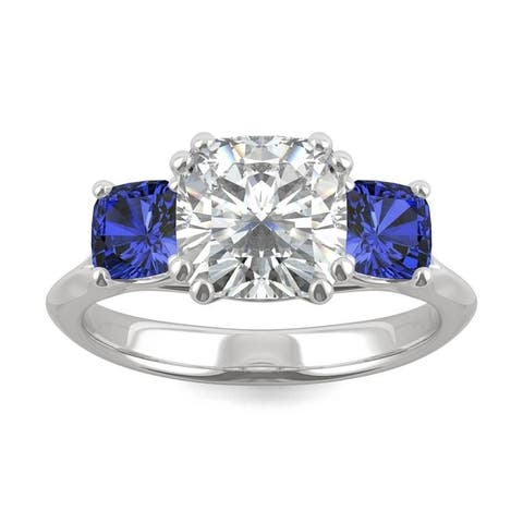 14k White Gold Moissanite by Charles & Colvard Cushion Three Stone Ring with Blue Lab Created Sapphire