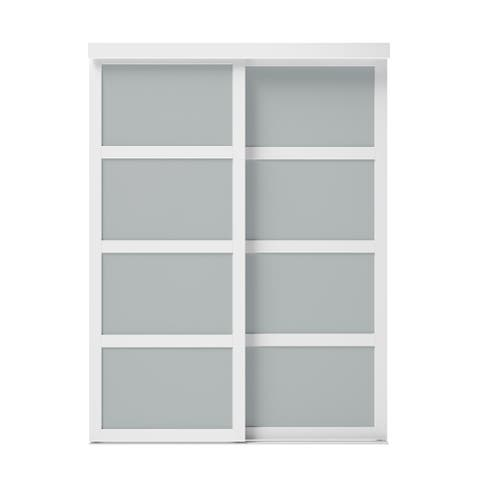60 in. X 80.5 in. Sliding Fusion Plus White Frosted Glass