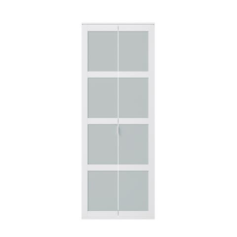 30 in. X 80.5 in. Bi-Fold Fusion Plus Frame Frosted Glass - White
