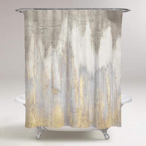 Oliver Gal 'Golden Caves' Abstract Decorative Shower Curtain - Gray, Gold