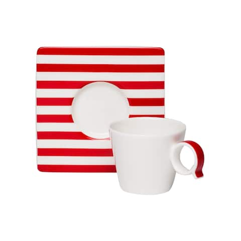 Freshness Lines Red Espresso Cup and Saucer Set of 6