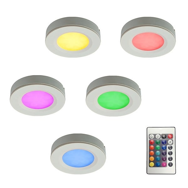 DALS Under Cabinet LED Puck Light Kit with Plug-In Driver and Remote Controller