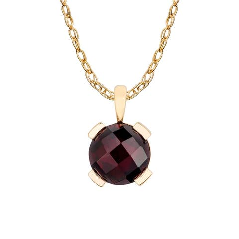Viducci 10k Yellow Gold Genuine Round Garnet Pendant Necklace