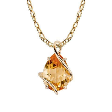 Viducci 10k Yellow Gold Genuine Pear-shape Citrine Tear-Drop Pendant Necklace