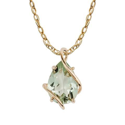 Viducci 10k Yellow Gold Genuine Pear-shape Green Amethyst Tear-Drop Pendant Necklace
