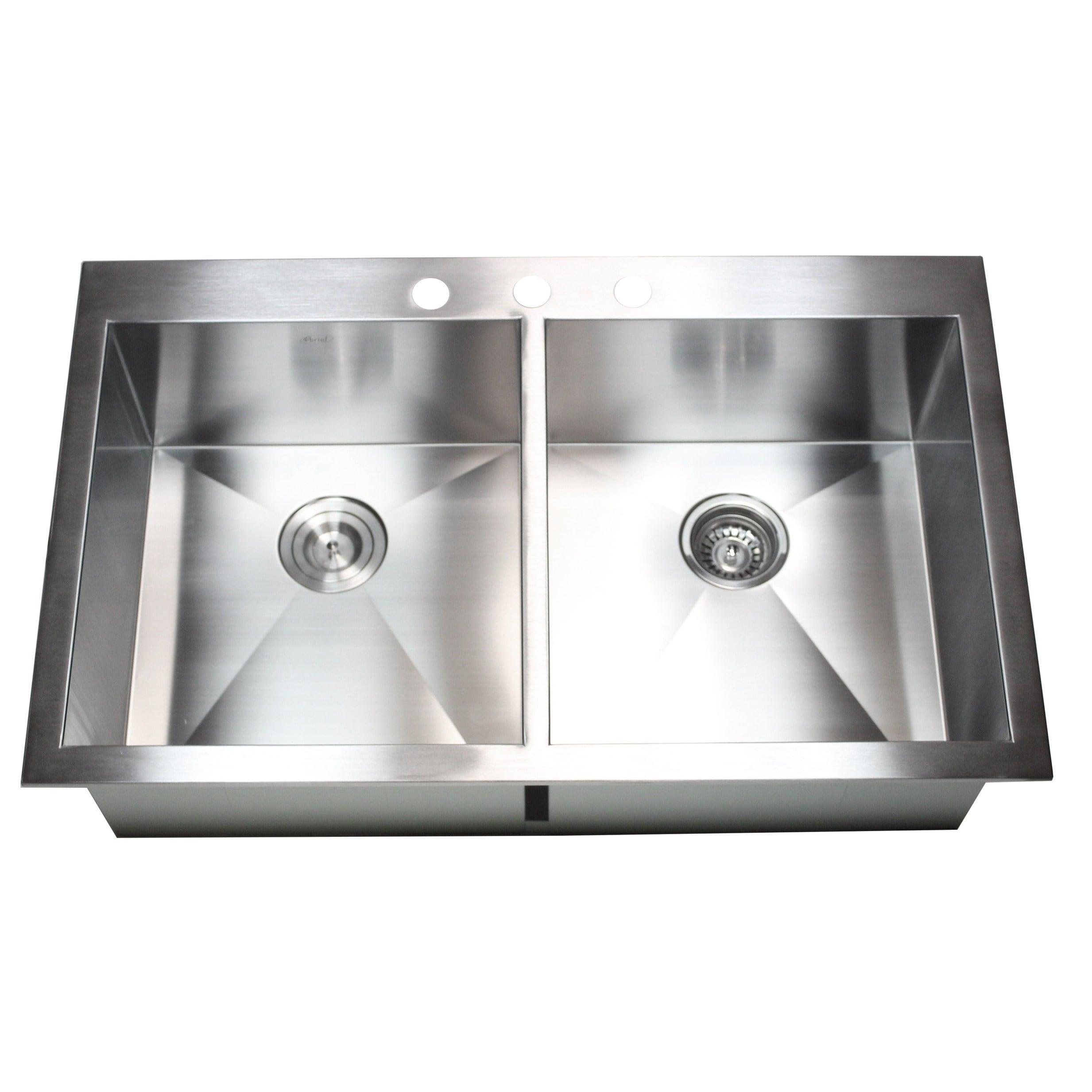 "33/"" x 22/"" x 9/"" Stainless Steel Topmount Drop In Kitchen Sink Double Bowl 50//50"
