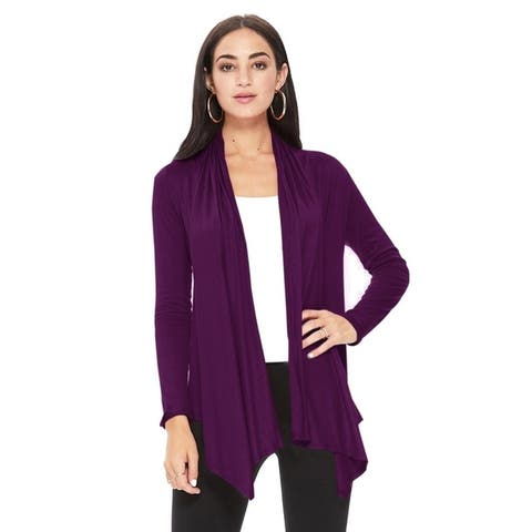 Women's Solid Casual Comfy Open Draped Cardigan Sweater Jacket