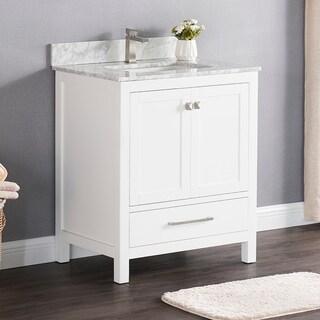 Luende 30 inch Wood Single Sink Bathroom Vanity Set with Carrara Marble Top