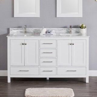 Luende 60 inch Wood Double Sink Bathroom Vanity Set with Carrara Marble Top