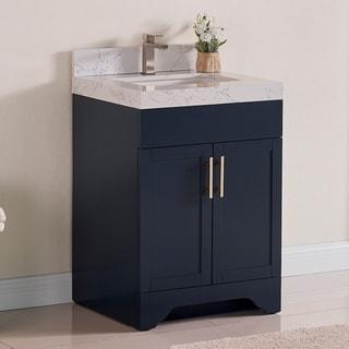 Luende 24 inch Wood Single Sink Bathroom Vanity Set with Carrara Quartz Top