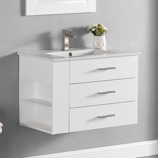 Luende 30 inch Wood Single Sink Wall Mount Bathroom Vanity Set with Ceramic Top