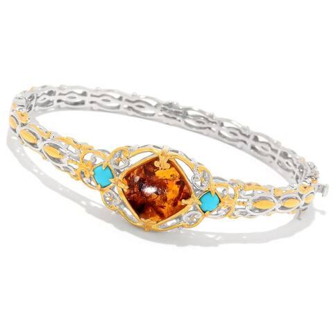 Gems en Vogue Palladium Silver Baltic Amber & Sleeping Beauty Turquoise Three-Stone Bangle Bracelet