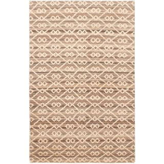 Hand-knotted Tangier Cream Wool Rug - ECARPETGALLERY - 5'1 x 7'11