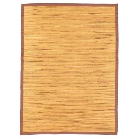 Handmade Honeycomb I Brown Hemp Rug