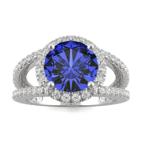 14k White Gold Moissanite by Charles & Colvard Split Shank Halo Ring with Blue Lab Created Sapphire