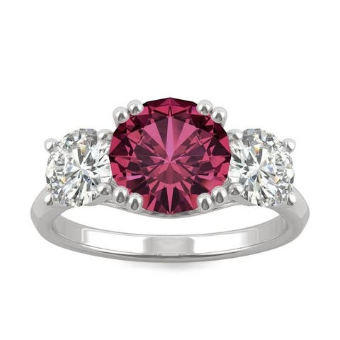 14k White Gold Moissanite by Charles & Colvard Round Three Stone Ring with Lab Created Ruby