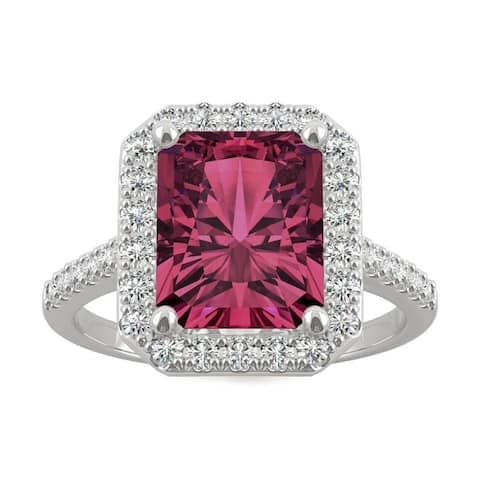 14k White Gold Moissanite by Charles & Colvard Radiant Cut Halo Ring with Lab Created Ruby