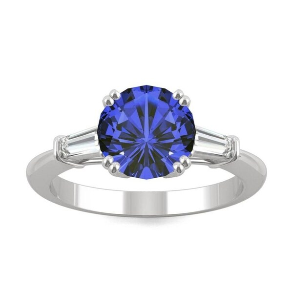 14k White Gold Moissanite by Charles & Colvard Round Three Stone Ring with Blue Lab Created Sapphire. Opens flyout.