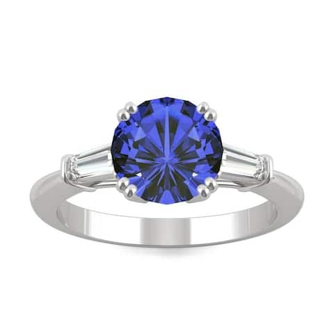 14k White Gold Moissanite by Charles & Colvard Round Three Stone Ring with Blue Lab Created Sapphire