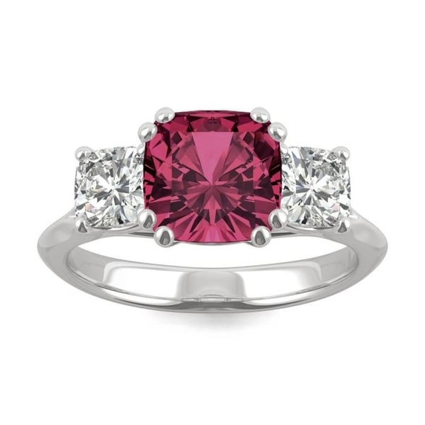 14k White Gold Moissanite by Charles & Colvard Cushion Three Stone Ring with Lab Created Ruby. Opens flyout.