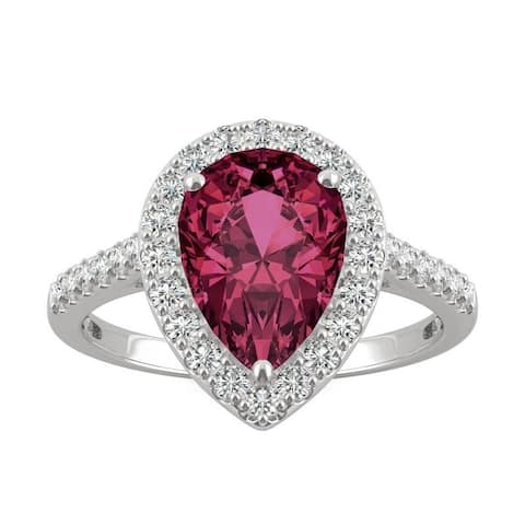14k White Gold Moissanite by Charles & Colvard Pear Halo Ring with Lab Created Ruby
