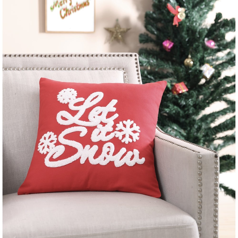 """Christmas Pillow~/""""MERRY CHRISTMAS~HAPPY HOLIDAYS~LET IT SNOW~PEACE ON EARTH.../"""""""