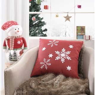 Asher Home Red Snowflake 18-inch Throw Pillow Cover