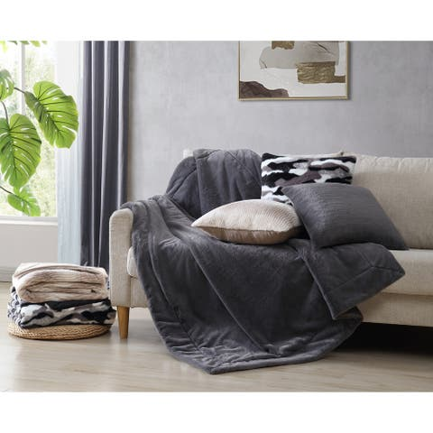 Asher Home Edith Faux Fur 18-inch Throw Pillow Cover Set of 2