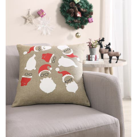 Asher Home Hipster Santa 18- inch Pillow Cover