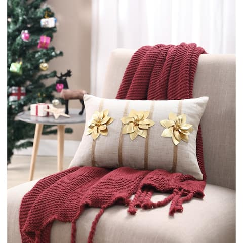 Asher Home Gold Poinsettia 12 inches x 18 inches Throw Pillow Cover