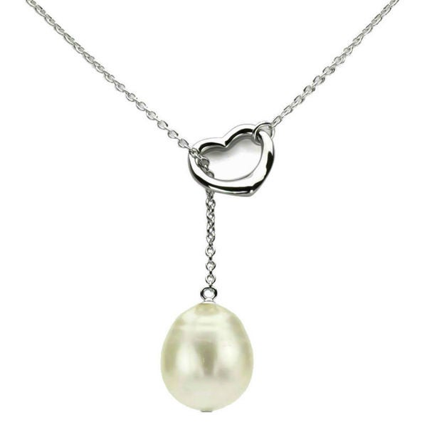 """DaVonna Sterling Silver Chain 9-10mm White Freshwater Pearl Open-Heart Pendant Y Necklace 18"""""""