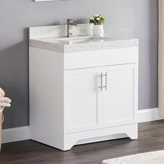 Luende 30 inch Wood Single Sink Bathroom Vanity Set with Carrara Quartz Top