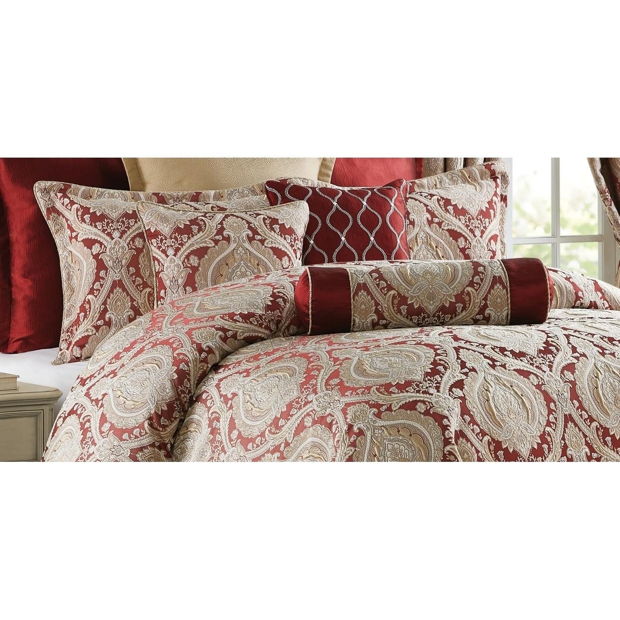 Shop Black Friday Deals On Norwich Wine Burgundy Damask Comforter Set Overstock 30076979