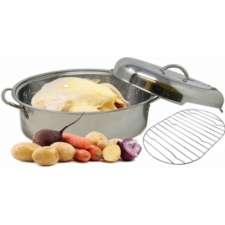 Stainless Steel Roaster Pan Extra Large & Lightweight With Induction Lid & Wire Rack 9.5 Quart Capacity