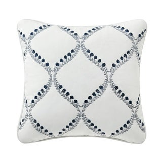 Kylie White Embroidered Throw Pillow
