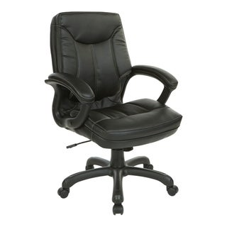 Executive Mid-Back Faux Leather Chair with Stitching