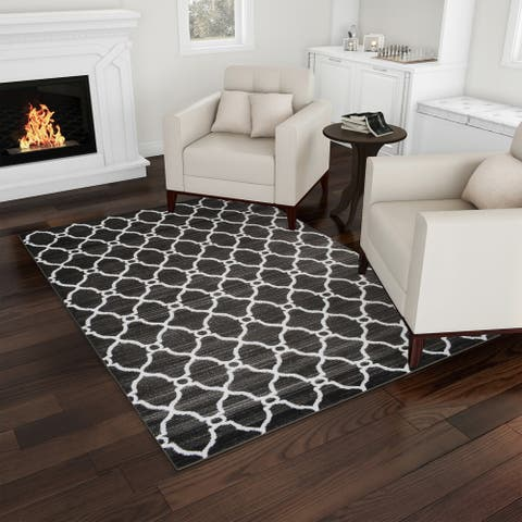 Modern Distressed Lattice Area Rug by Windsor Home
