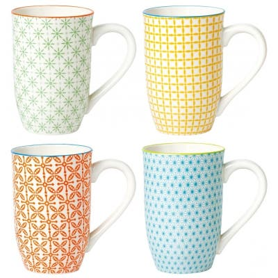 4 Piece Tall Coffee Mug Set - Color