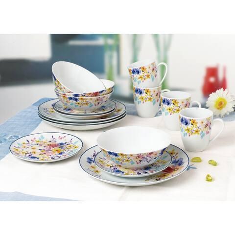 Blue Rim Multicolor Flowers 16 Piece Dinnerware Set, Service for 4